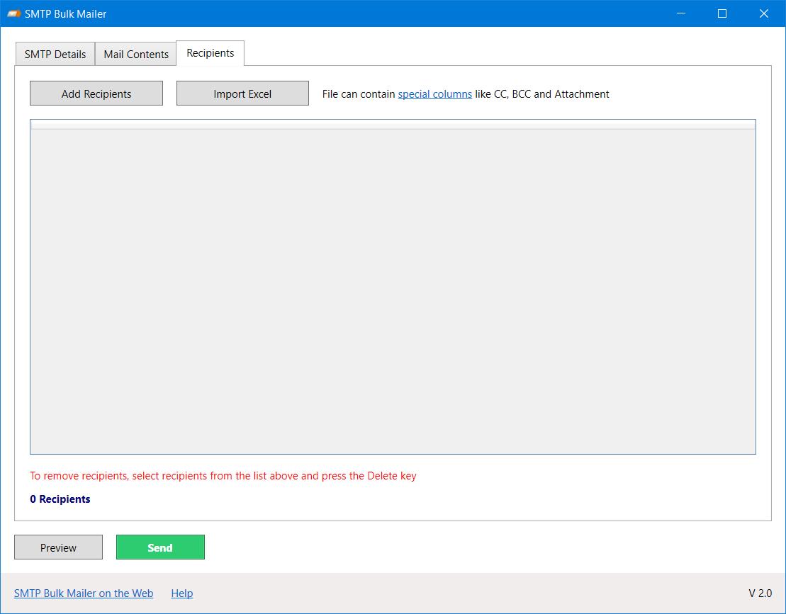 SMTP Bulk Mailer - Freeware to send bulk emails using an SMTP server